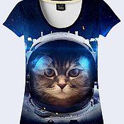 """Одежда ручной работы. Ярмарка Мастеров - ручная работа Женская футболка """"Космический кот"""". Handmade."""