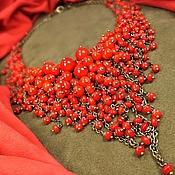 Украшения handmade. Livemaster - original item Fiery Parfait. Necklace of red coral. Handmade.