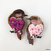Brooches handmade. Livemaster - original item Brooch-birds of Vesnjanki