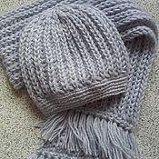 """Аксессуары handmade. Livemaster - original item Вязаный комплект,шапка и шарф """"Свой стиль-1"""" ручной работы. Handmade."""