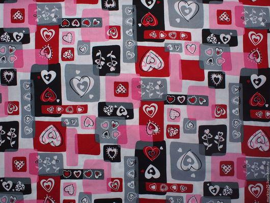 Шитье ручной работы. Ярмарка Мастеров - ручная работа. Купить Ткань  с сердечками. Handmade. Ткань для пэчворка, корейский хлопок