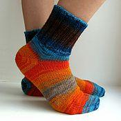 Работы для детей, ручной работы. Ярмарка Мастеров - ручная работа р.31 Детские шерстяные носки - арт. Арлекин оранжевый бирюза шоколад. Handmade.