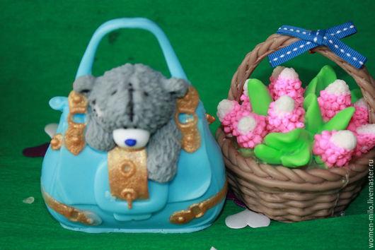 Мыло ручной работы. Ярмарка Мастеров - ручная работа. Купить мишка тедди в сумке. Handmade. Разноцветный, подарок на 8 марта