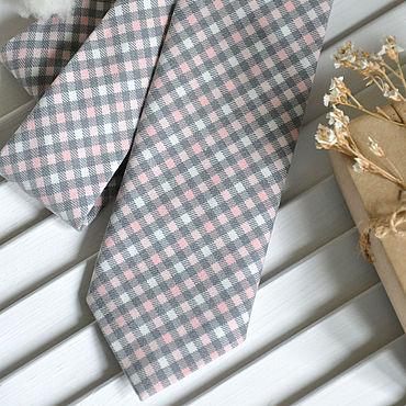 Аксессуары ручной работы. Ярмарка Мастеров - ручная работа Галстук мужской Серо-розовая клетка / галстук Классика. Handmade.
