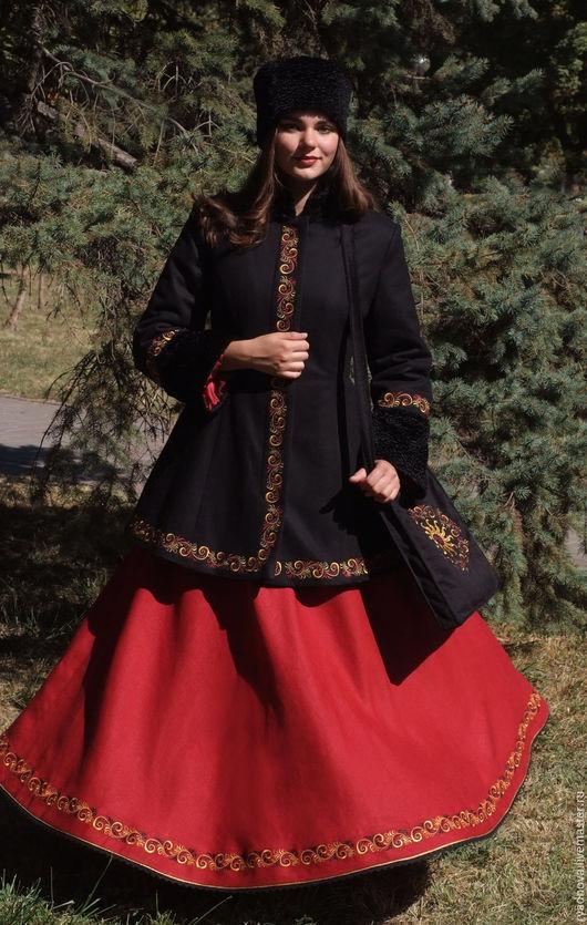 Одежда ручной работы. Ярмарка Мастеров - ручная работа. Купить Кафтан и юбка Золотая Хохлома. Handmade. Комбинированный, зимняя одежда