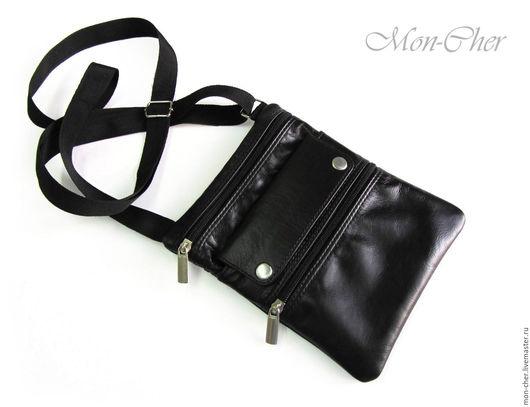 Мужские сумки ручной работы. Ярмарка Мастеров - ручная работа. Купить Маленькая мужская сумочка-кошелек. Handmade. Черный