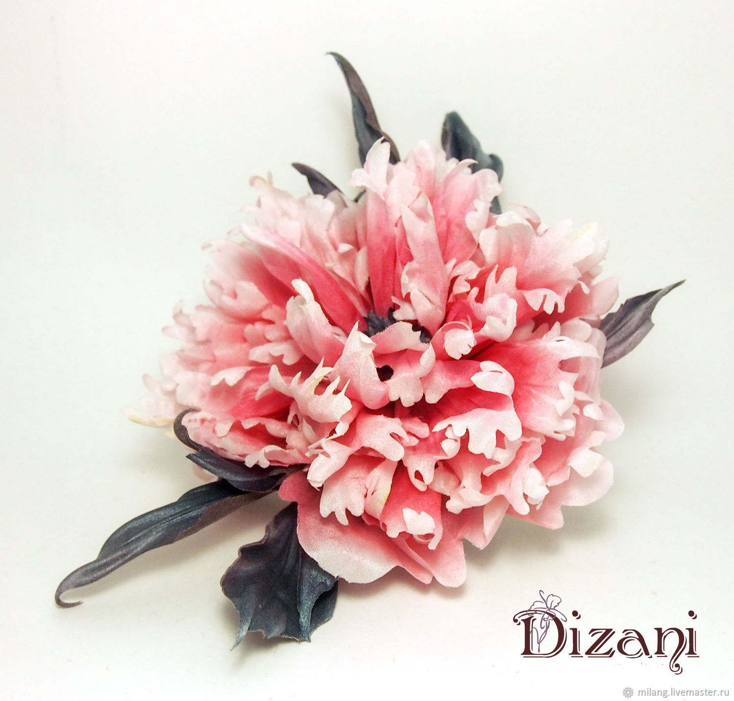 Brooch peony 'Magical day'. Silk flowers, cloth flowers, Flowers, Moscow,  Фото №1