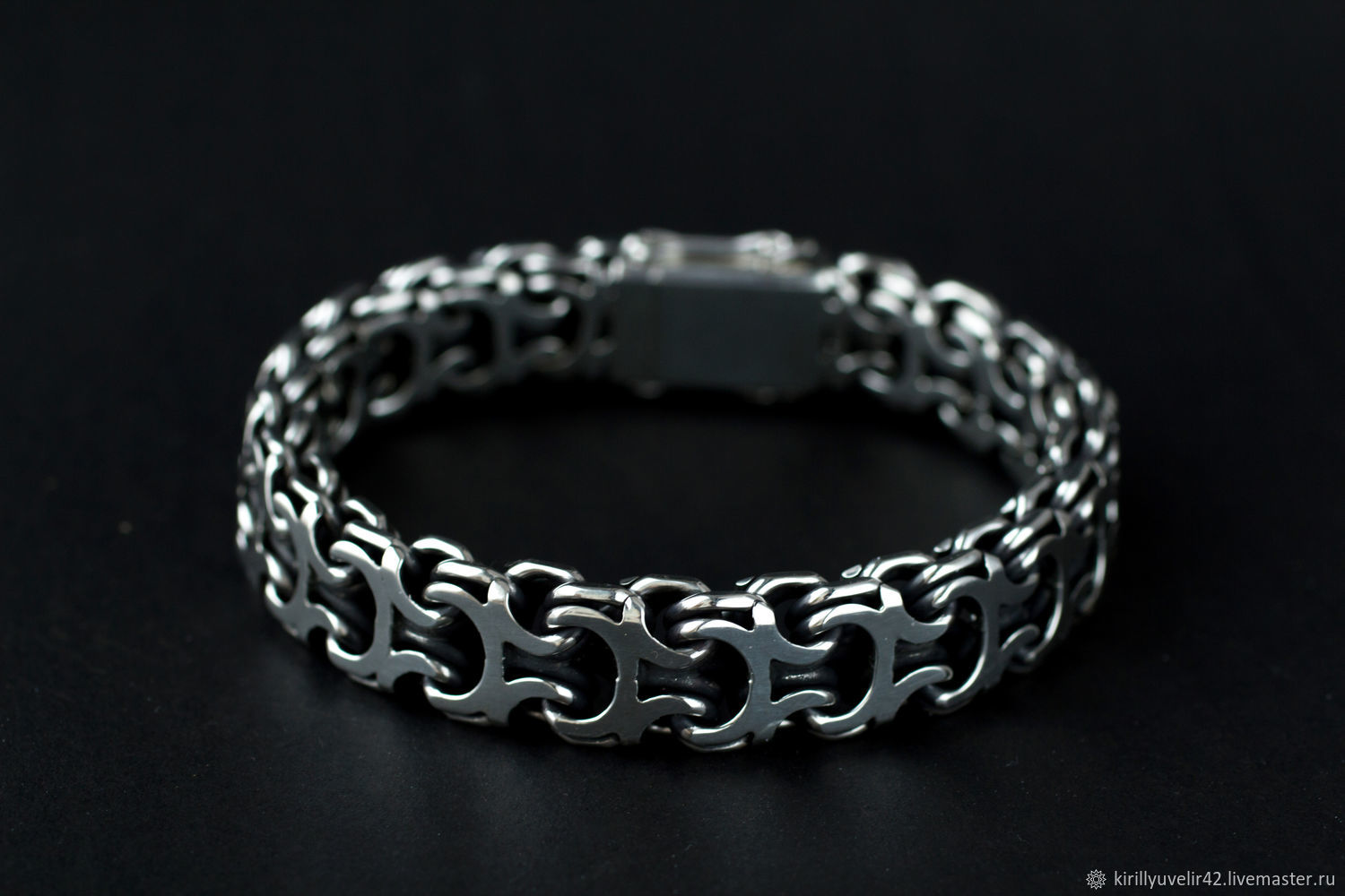 Bracelet weaving 'Ramses or Reverse Bismarck' with a box of silver, Braided bracelet, Kemerovo,  Фото №1