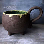 Посуда handmade. Livemaster - original item Witch`s Cauldron Mug with green potion. Handmade.