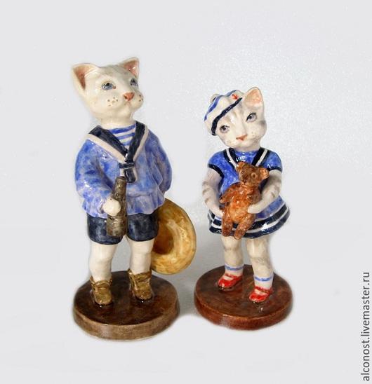 """Статуэтки ручной работы. Ярмарка Мастеров - ручная работа. Купить статуэтки """" На прогулку"""". Handmade. Голубой, глина"""