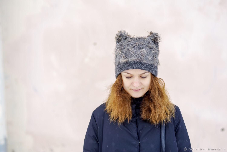 Felted hat 'Grey ears', Scarves, St. Petersburg,  Фото №1