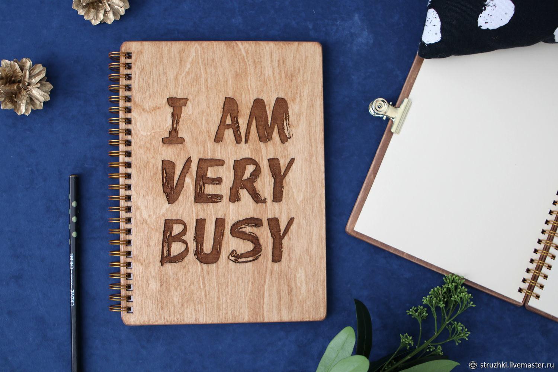 """Блокнот с деревянной обложкой """"Busy"""", Блокноты, Санкт-Петербург,  Фото №1"""