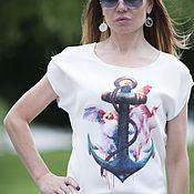 """Одежда handmade. Livemaster - original item Летняя футболка с принтом """"Якорь"""". Handmade."""