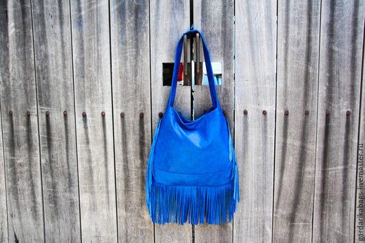 Женские сумки ручной работы. Ярмарка Мастеров - ручная работа. Купить Сумка с бахромой синяя. Handmade. Синий, сумка кожаная