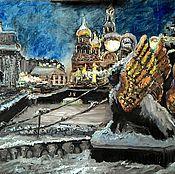 Картины и панно ручной работы. Ярмарка Мастеров - ручная работа Зимний Санкт-Петербург.Банковский мост. Handmade.
