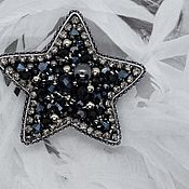 Brooches handmade. Livemaster - original item Star beaded brooch.Embroidered black and silver brooch asterisk.. Handmade.