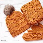 Шапка,  шарф-снуд и варежки, рыжий комплект теплых вязаных аксессуаров