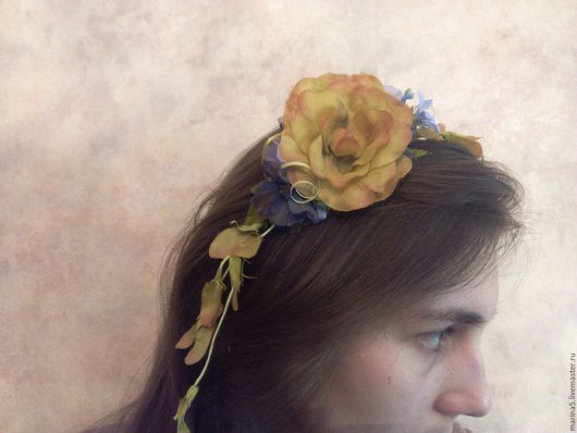Диадемы, обручи ручной работы. Ярмарка Мастеров - ручная работа. Купить ободок с цветами. Handmade. Оранжевый, украшение, ободок для девушки
