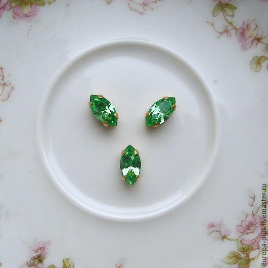 Для украшений ручной работы. Ярмарка Мастеров - ручная работа. Купить Винтажные кристаллы 10х5 мм - Peridot. Handmade. Зеленый
