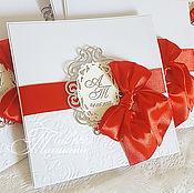 Приглашения ручной работы. Ярмарка Мастеров - ручная работа Красное с серебром-приглашения на свадьбу. Handmade.