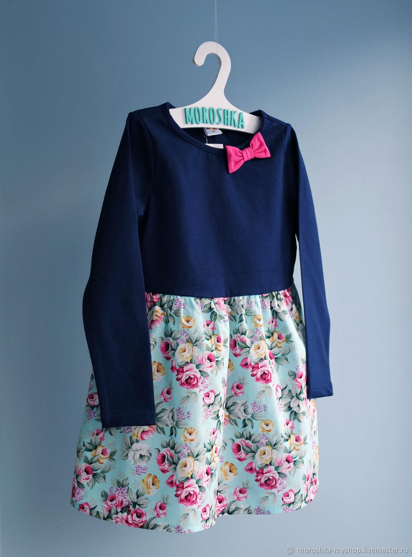 Платье для девочки комбинированное бирюзовое с розами