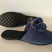 Обувь ручной работы handmade. Livemaster - original item Knitted Slippers-flip-flops on the sole (wool blend yarn-color jeans ). Handmade.