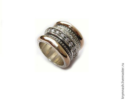 """Кольца ручной работы. Ярмарка Мастеров - ручная работа. Купить Авторская работа """"Звёздное""""кольцо с фианитами, из серебра и золота. Handmade. Серебряный"""
