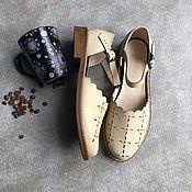 Обувь ручной работы handmade. Livemaster - original item sandals: Floral sandals cream beige smooth sole. Handmade.