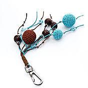 Аксессуары ручной работы. Ярмарка Мастеров - ручная работа Брелок для ключей сумки Бирюза и шоколад. Handmade.