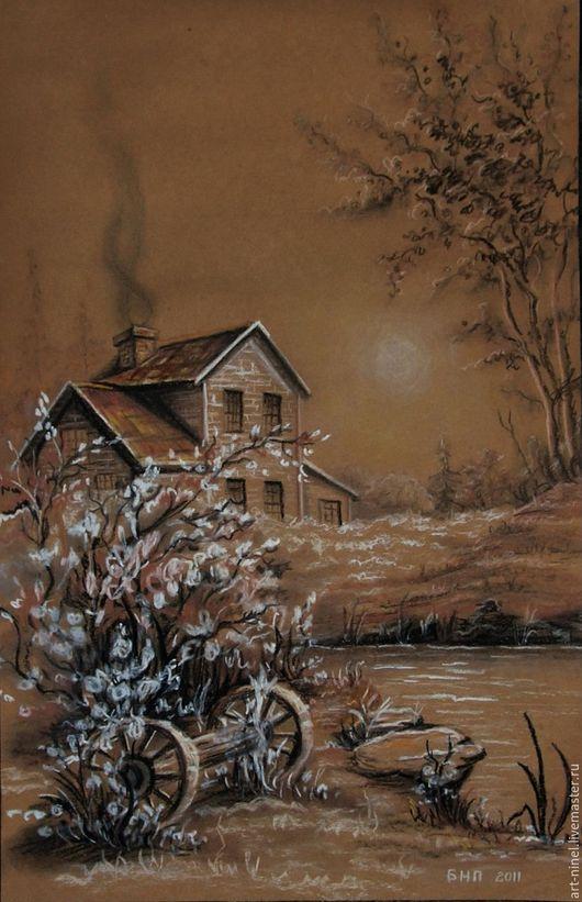 Пейзаж ручной работы. Ярмарка Мастеров - ручная работа. Купить графика (32х50). Handmade. Комбинированный, дом, река, цветение