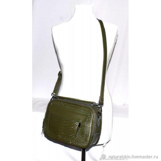8d4216e0e7e2 Женские сумки ручной работы. Ярмарка Мастеров - ручная работа. Купить Женская  кожаная зеленая сумка ...