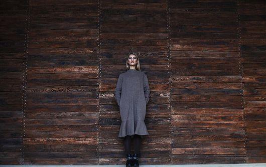 Платья ручной работы. Ярмарка Мастеров - ручная работа. Купить Платье с воланом. Handmade. Серый, платье из шерсти, трикотажное платье