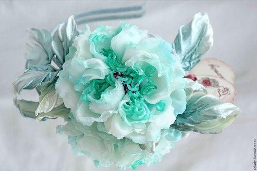 """Цветы ручной работы. Ярмарка Мастеров - ручная работа. Купить Нежный веночек на голову  """"Мятная роза"""". Handmade. Бирюзовый"""