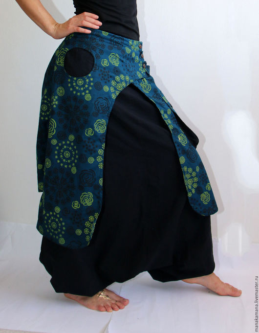 """Этническая одежда ручной работы. Ярмарка Мастеров - ручная работа. Купить Штаны афгани - юбка """"Туркиз"""". Handmade. Черный, зуавы"""