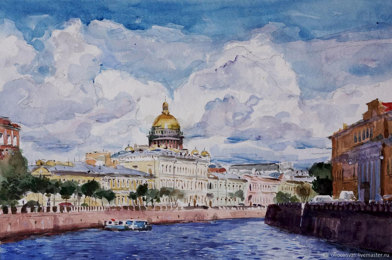 Картина акварелью «Исаакиевский собор летний» 23,5х35,5 см, Картины, Санкт-Петербург, Фото №1