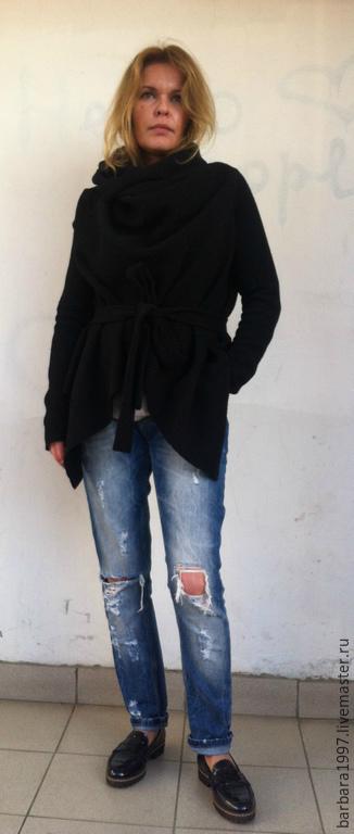 Верхняя одежда ручной работы. Ярмарка Мастеров - ручная работа. Купить Легкое пальто-кардиган СOZY Black. Handmade. Черный