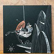 Картины ручной работы. Ярмарка Мастеров - ручная работа Девушка в кресле Chair Bubble (1968) Eero Aarnio. 200x200mm.. Handmade.
