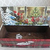 Для дома и интерьера ручной работы. Ярмарка Мастеров - ручная работа короб Новый год у гномов. Handmade.