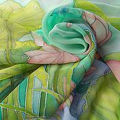 Аксессуары ручной работы. Ярмарка Мастеров - ручная работа Шелковый шифоновый платок Лотосы. Handmade.