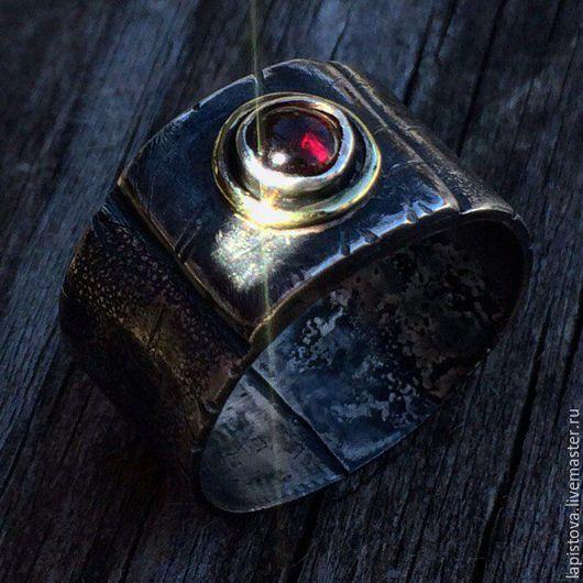 """Кольца ручной работы. Ярмарка Мастеров - ручная работа. Купить Кольцо """"БРАТУ"""" ( серебро, гранат, латунь). Handmade. Серебряный"""