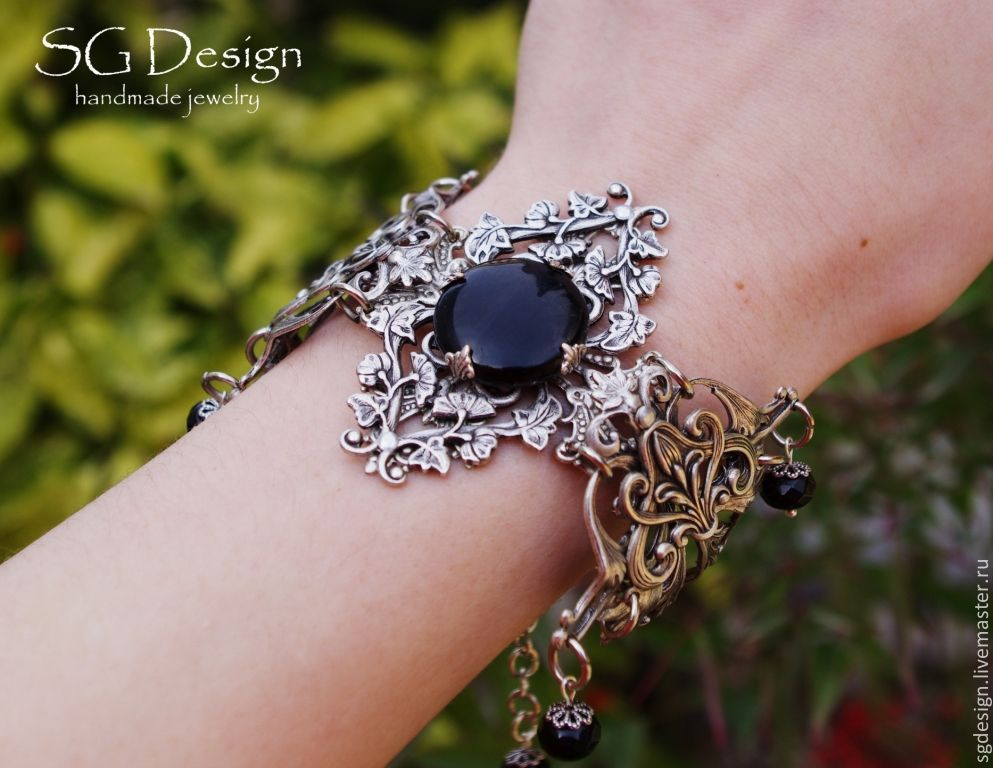 bracelet silver 'ilisia' black onyx green, Bead bracelet, Yalta,  Фото №1