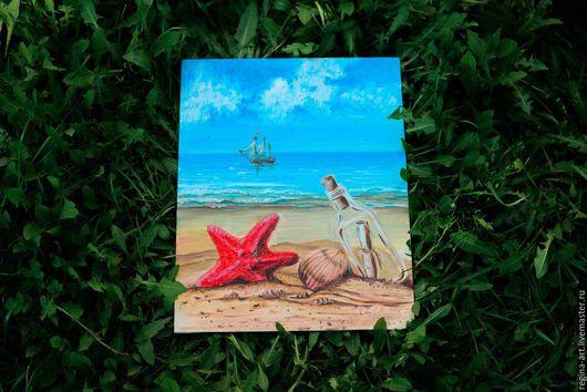 Пейзаж ручной работы. Ярмарка Мастеров - ручная работа. Купить На берегу моря. Handmade. Комбинированный, холст на картоне, масло