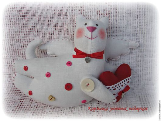 """Куклы Тильды ручной работы. Ярмарка Мастеров - ручная работа. Купить Летящий котик """"Пуговка"""". Handmade. Белый, кот тильда"""