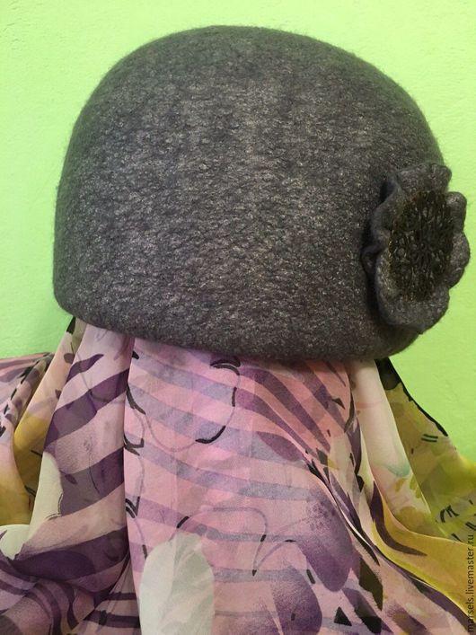 Шапки ручной работы. Ярмарка Мастеров - ручная работа. Купить Шляпка валяная женская. Handmade. Серый, шапка для осени