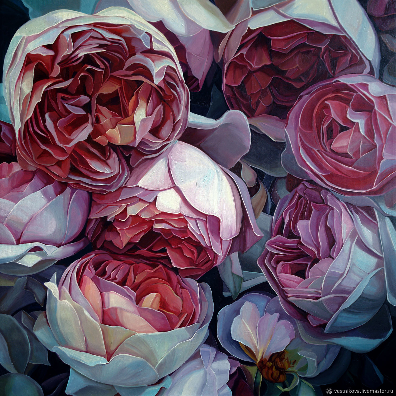 Painting 'in the mystery of flowers' oil on canvas 80h80 cm, Pictures, Moscow,  Фото №1