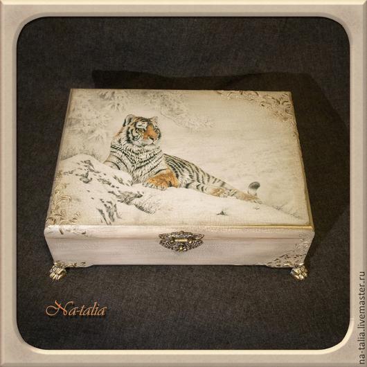 """Шкатулки ручной работы. Ярмарка Мастеров - ручная работа. Купить Короб """"Тигр"""". Handmade. Шкатулка, короб для бумаг, секретер"""