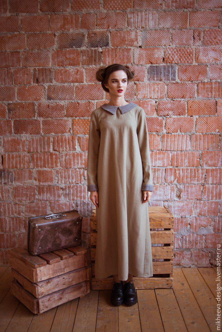 61bd57c3dec ручной работы. Ярмарка Мастеров - ручная работа. Купить Длинное шерстяное  платье с воротничком. ...