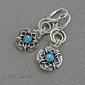 Украшения handmade. Livemaster - original item Sterling silver and brass Earrings with Turquoise. Handmade.