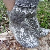 Аксессуары handmade. Livemaster - original item Short socks with ornaments made of wool and down. Handmade.