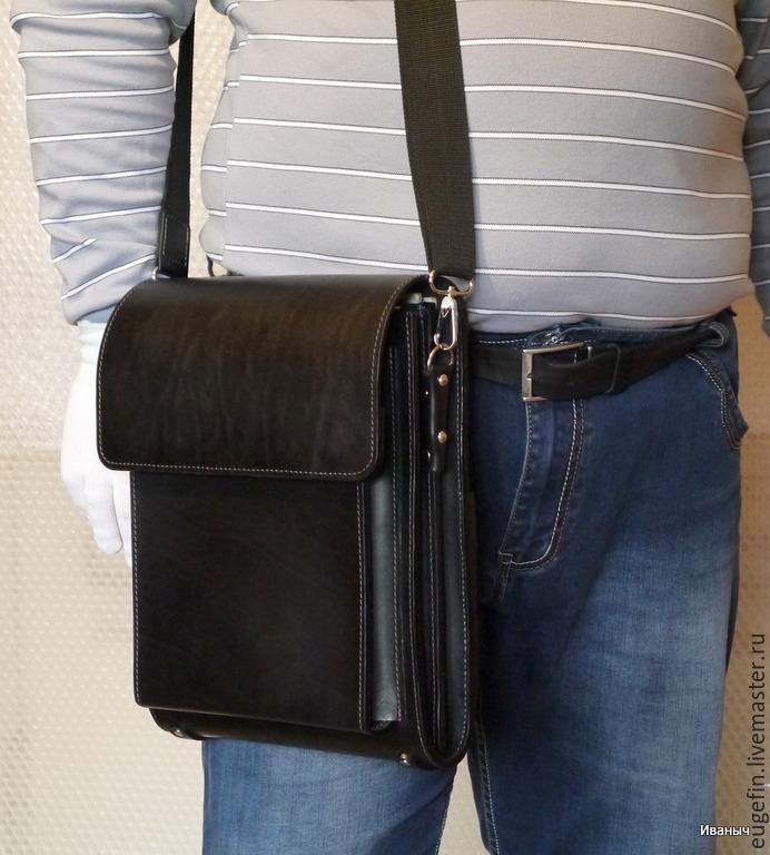 f9043886cd3c Мужские сумки ручной работы. Ярмарка Мастеров - ручная работа. Купить  Кожаный планшет 'Двушка ...